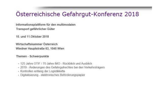 Österreichische Gefahrgut-Konferenz am 10. Oktober 2018